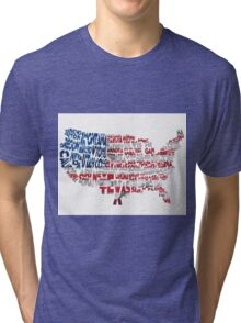 United States Typographic Map Flag Tri-blend T-Shirt