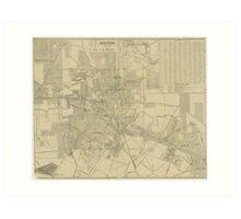 Vintage Map of Downtown Houston (1913) Art Print