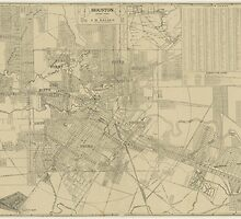 Vintage Map of Downtown Houston (1913) by BravuraMedia