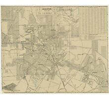 Vintage Map of Downtown Houston (1913) Photographic Print