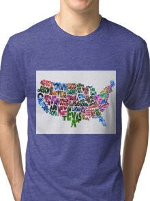 States of United States Typographic Map Tri-blend T-Shirt