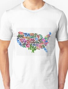 States of United States Typographic Map T-Shirt