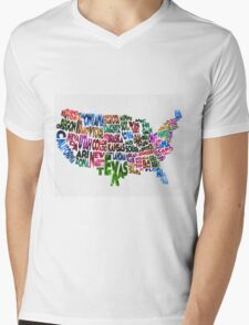 States of United States Typographic Map Mens V-Neck T-Shirt