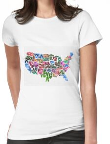 States of United States Typographic Map Womens Fitted T-Shirt
