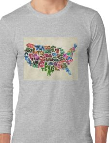 States of United States Typographic Map - Parchment Style Long Sleeve T-Shirt