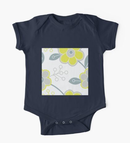 modern,trendy,floral,big flowers, yellow,grey,white,simple,elegant,chic,retro,fun,happy One Piece - Short Sleeve