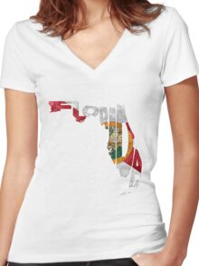 Florida Typographic Map Flag Women's Fitted V-Neck T-Shirt