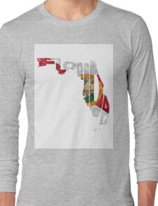 Florida Typographic Map Flag Long Sleeve T-Shirt