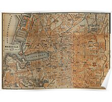Vintage Map of Marseille France (1914) Poster