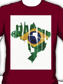 Brazil Typographic Map Flag T-Shirt