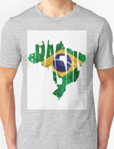 Brazil Typographic Map Flag Unisex T-Shirt