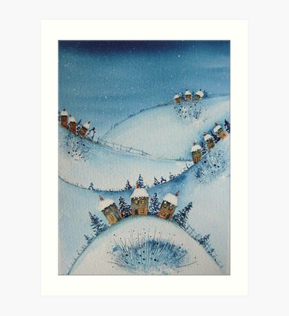 Houses on the Hills in the Snow Art Print
