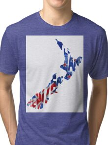New Zealand Typographic Map Flag Tri-blend T-Shirt
