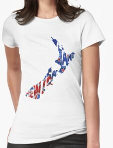 New Zealand Typographic Map Flag Womens Fitted T-Shirt