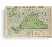 Vintage Map of Marthas Vineyard (1913) Canvas Print