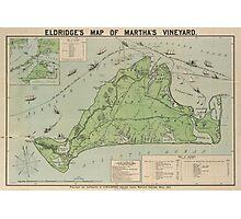 Vintage Map of Marthas Vineyard (1913) Photographic Print