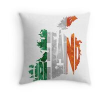 Ireland Typographic Map Flag Throw Pillow
