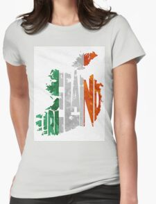 Ireland Typographic Map Flag Womens Fitted T-Shirt