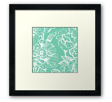 floral,flowers,pattern,green,white,vintage,shabby chic, country chic,elegant,girly,wall paper,fabric Framed Print
