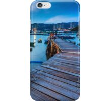 Sunset at wooden bridge iPhone Case/Skin