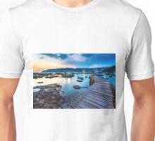 Sunset at wooden bridge Unisex T-Shirt