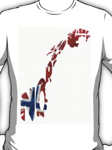 Norway Typographic Map Flag T-Shirt