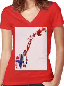 Norway Typographic Map Flag Women's Fitted V-Neck T-Shirt