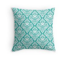 damask,vintage,floral,green,white,pattern,elegant,chic,wall paper, decorative,modern,trendy Throw Pillow