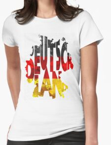 Germany Typographic Map Flag Womens Fitted T-Shirt