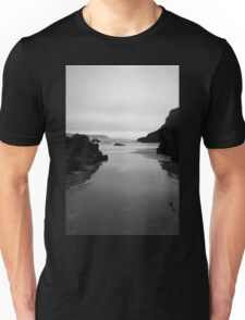 Kynance Cove in Black and White Unisex T-Shirt