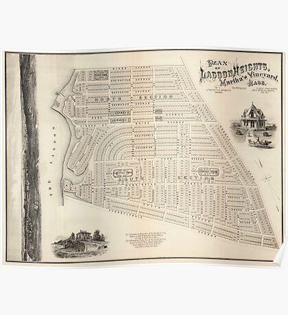 Vintage Map of Marthas Vineyard (1873) Poster