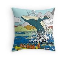 Jumping Whale Throw Pillow