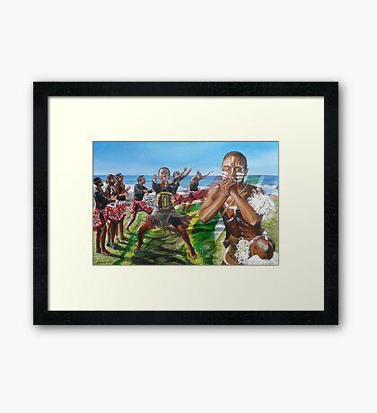 African dancegroup Framed Print