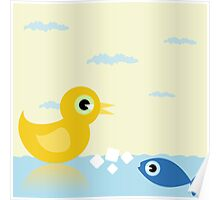 Duck and fish Poster
