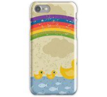 Ducks under a rainbow iPhone Case/Skin