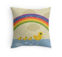 Ducks under a rainbow Throw Pillow