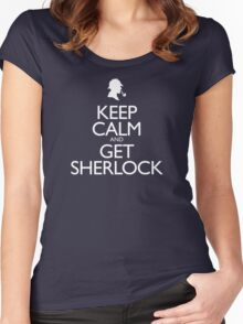 Keep Calm and Get Sherlock design Women's Fitted Scoop T-Shirt