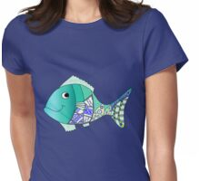 Blue mosaic fish Womens Fitted T-Shirt
