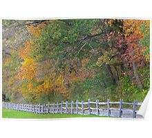 Fence along an Autumn Meadow Poster