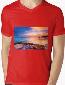 Sunset along the coast Mens V-Neck T-Shirt
