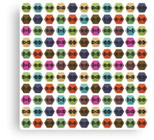 Bow tie pattern. Flat icons with hipsters style Canvas Print