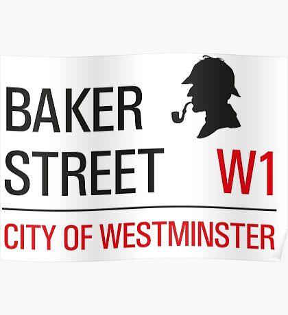 Sherlock Holmes Baker Street W1 sign Poster