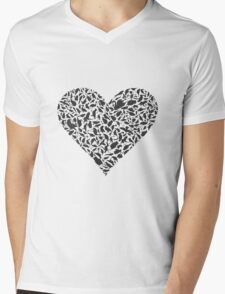 Heart a bird Mens V-Neck T-Shirt