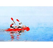 Two men rowing in a canoe Photographic Print