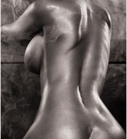 Sexy nude woman in steam room naked back artistic black and white art photo print Sticker
