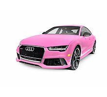 Pink 2016 Audi RS 7 Prestige Quattro Sedan luxury car art photo print Photographic Print