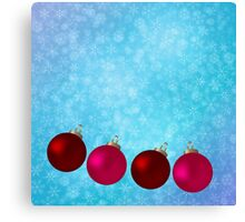Christmas background with snowflakes and balls Canvas Print