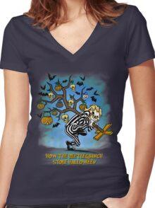 Beetlegrinch Women's Fitted V-Neck T-Shirt