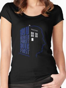 You Never Forget Your First - Doctor Who 9 Christopher Eccleston Women's Fitted Scoop T-Shirt