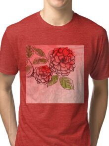 Sketch rose background Tri-blend T-Shirt